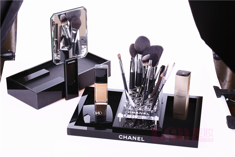 Chanel Vip Classic Gift Item Black Clear Brush Makeup Cosmetics Holder Tray Home Decor